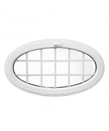 Ventana ovalada oscilante 1350x800 de PVC blanco con barrotillos ingléses