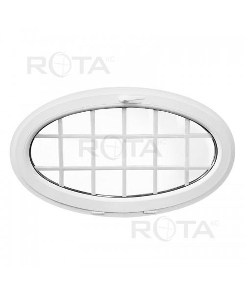 Venatana ovalada 1350x800 oscilante con barrotillos PVC blanco