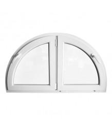 Venatana semicircular 1200x700mm batiente doble hoja PVC blanco