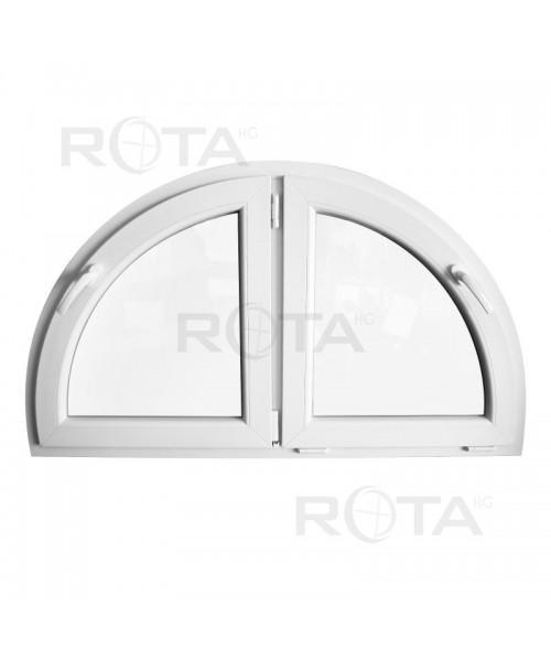 Venatana semicircular 1400x800mm batiente doble hoja PVC blanco