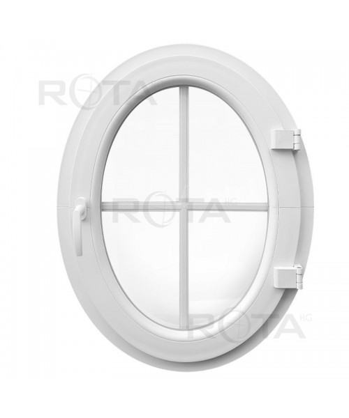 Ventana ovalada batiente de PVC blanco con barrotillos ingléses