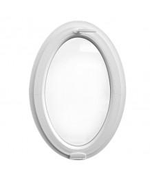 Ventana ovalada oscilante de PVC blanco con bisagras 'Estetic3D' (vertical)