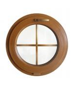 Ventana redonda oscilante PVC color madera con barrotillos
