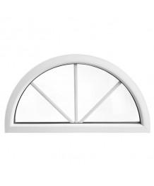 Ventana semi redonda fija de PVC blanco con barrotillos ingléses