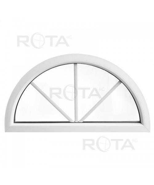 Ventana semicircular fija de PVC blanco con barrotillos ingléses