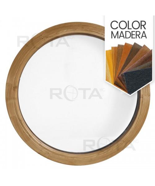 Ventana redonda fija de PVC color imitación madera