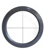 Ventana redonda fija de PVC color RAL con barrotillos ingléses