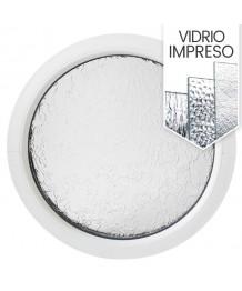 Ventana redonda fija con vidrio texturizado PVC bianco