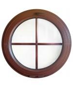 Ventana redonda oscilante PVC imitación madera barrotillos ingléses