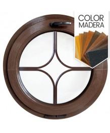 Ventana redonda oscilante de PVC color imitación madera con barrotillos especiales