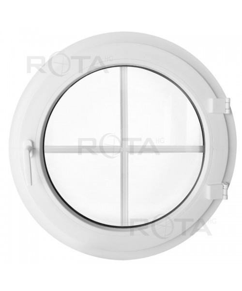 Ventana redonda practicable PVC blanco con barrotillos ingléses