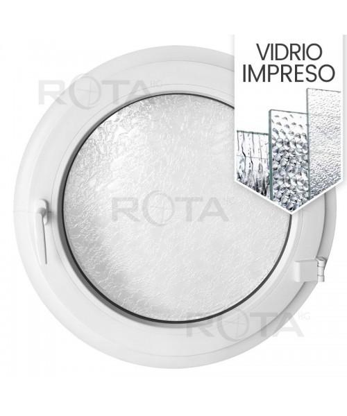 Ventana redonda practicable de PVC blanco con vidrio texturizado