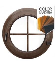 Ventana redonda practicable de PVC color imitación madera con barrotillos ingléses