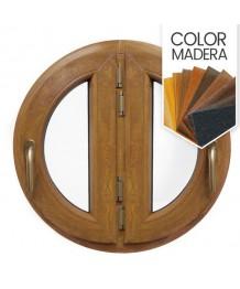 Ventana redonda batiente doble hoja de PVC color imitación madera