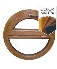 Ventana redonda fija u abatible de PVC color imitación madera
