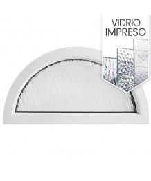 Ventana semi redonda fija de PVC bianco con vidrio texturizado