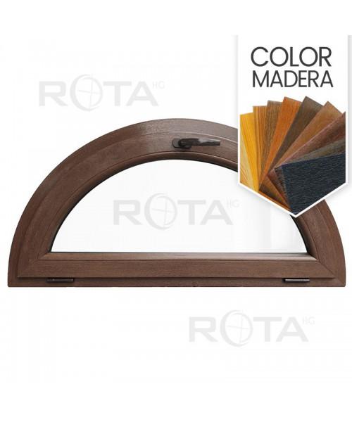 Venatana semi redonda oscilante de PVC color imitación madera