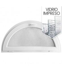Ventana semi redonda oscilante de PVC blanco con vidrio texturizado