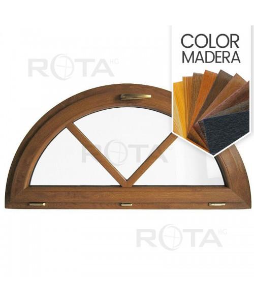 Venatana semi redonda oscilante de PVC color imitación maderacon barrotillos