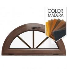 Ventana semi redonda oscilante de PVC color imitación madera con barrotillos ingléses