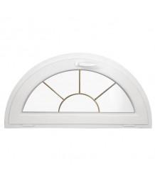 Ventana semi redonda oscilante de PVC blanco con barrotillos especiales