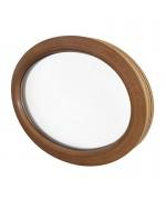 Ventana ovalada fija de PVC color imitación madera (horizontal)