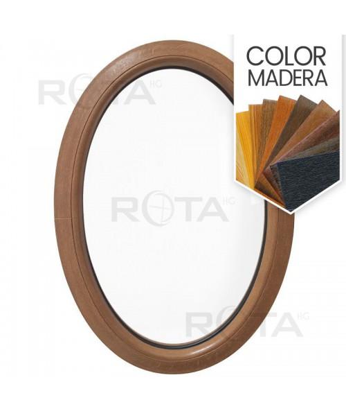 Ventana ovalada fija de PVC color imitación madera (vertical)