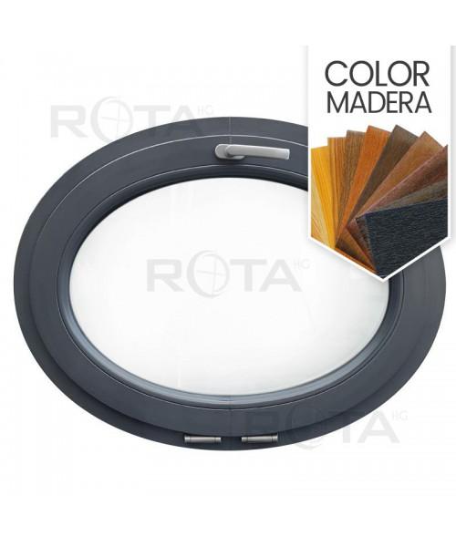 Ventana ovalada oscilante de PVC color imitación madera (horizontal)