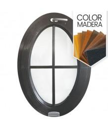 Ventana ovalada oscilante de PVC color imitación madera con barrotillos pegados