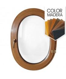 Ventana ovalada batiente de PVC color imitación madera