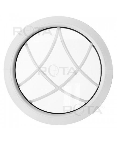 Ventana redonda fija de PVC blanco con barrotillos especiales