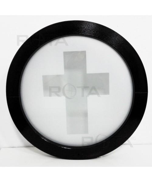 Ventana redonda fija 700 mm de PVC blanco con vidrio decorativo