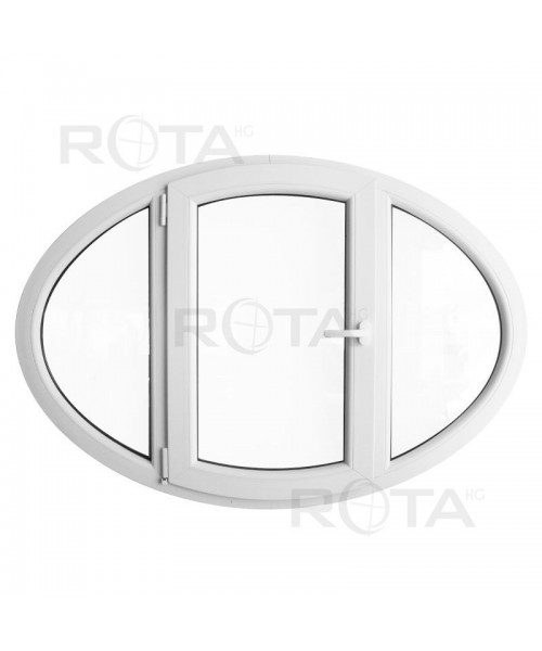 Ventana ovalada batiente 1400x1000 de PVC blanco