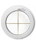 Ventana redonda oscilante de PVC blanco con barrotillos ingléses