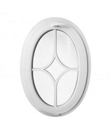 Ventana ovalada oscilante de PVC blanco con barrotillos pegados decorativos