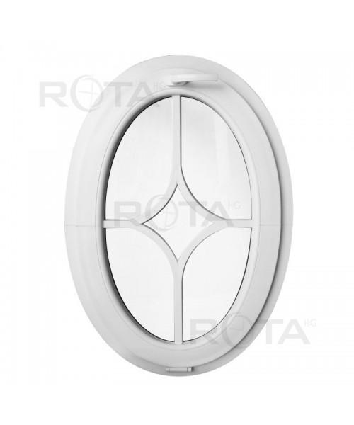 Venatana ovalada oscilante de PVC blanco con barrotillos pegados decorativos