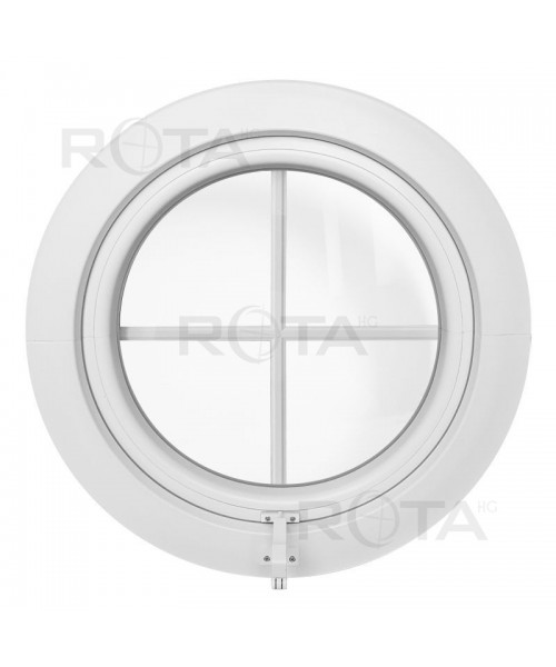 Ventana redonda proyectante de PVC blanco con barrotillos ingléses