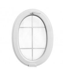 Ventana ovalada oscilante de PVC blanco con barrotillos ingléses