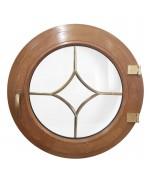 Ventana redonda practicable de PVC color imitación madera con barrotillos especiales