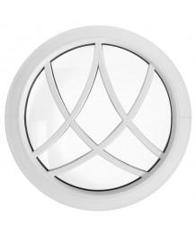 Ventana redonda fija de PVC blanco con barrotillos decorativos