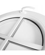 Ventana redonda oscilante de PVC blanco con barrotillos pegados