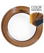 Ventana redonda oscilante de PVC color imitación madera