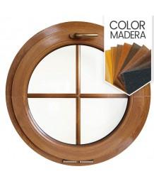 Ventana redonda oscilante de PVC color imitación madera con barrotillos ingléses