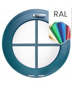 Ventana redonda oscilante de PVC color RAL con barrotillos ingléses
