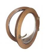 Ventana redonda practicable de PVC color imitación madera