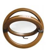Ventana redonda basculante o pivotante de PVC color imitación madera