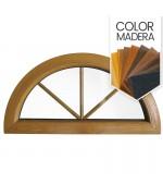 Ventana semi redonda fija de PVC color imitación madera con barrotillos ingléses