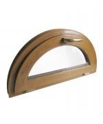 Ventana semi redonda oscilante de PVC color imitación madera