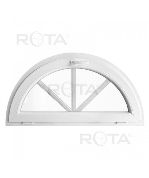 Ventana semi redonda oscilante de PVC blanco con barrotillos ingléses