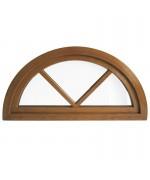 Ventana semi redonda oscilante de PVC color imitación maderacon barrotillos